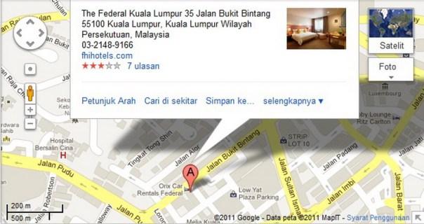 Letak Hotel Federal Kuala Lumpur