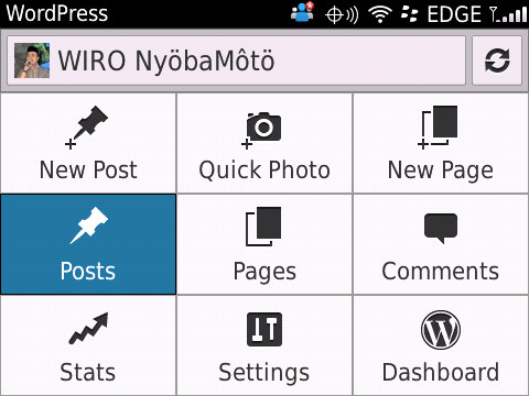 Tampilan menu WordPress for BB