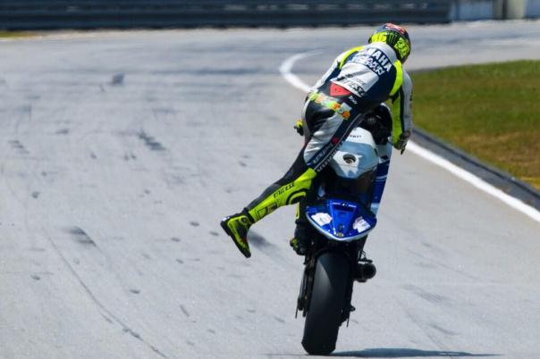 Valentino Rossi Sepang motoGP Wheelie