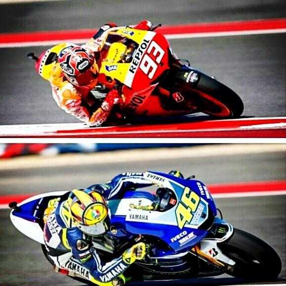 Salah satu gaya balap Marquez dan Rossi
