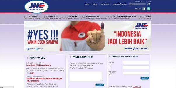 Web JNE Express Across Nations