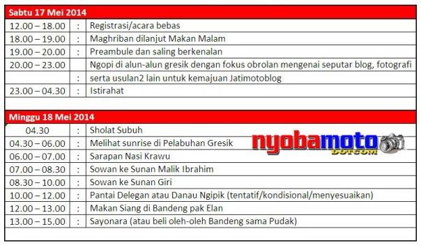 Schedule Kopdar Jatimotoblog Mei 2014