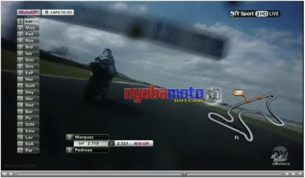 View saat Marquez mengincar Lorenzo