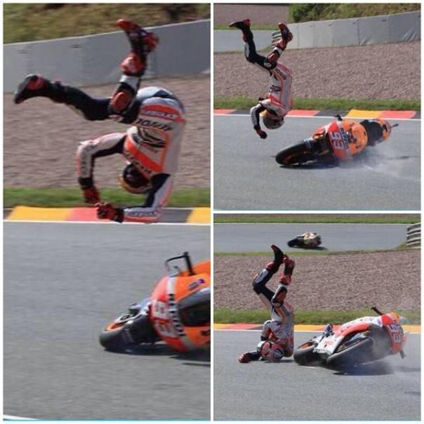 Marc Marquez terjatuh di Sirkuit Sachsenring Jerman 3