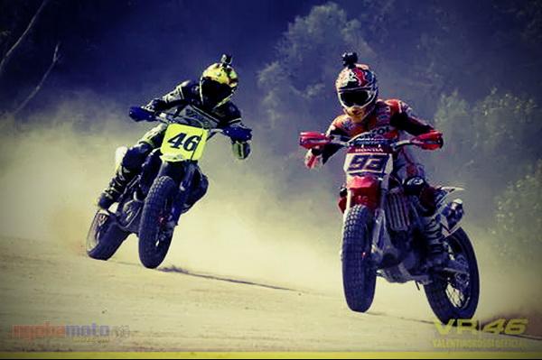 Marquez dan Rossi Bertarung di Dirt Track