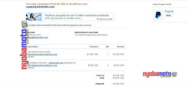 Email notifikasi pembayaran oleh PayPal ke wordpress.com