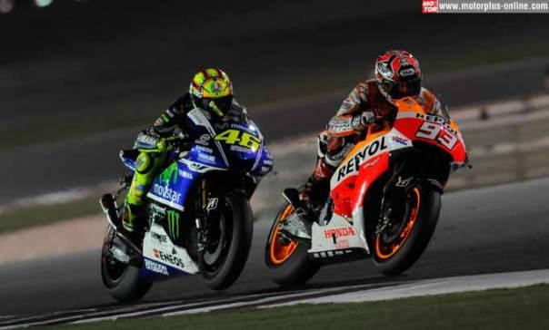 Duel Valentino Rossi dan Marc Marquez di Losail Qatar