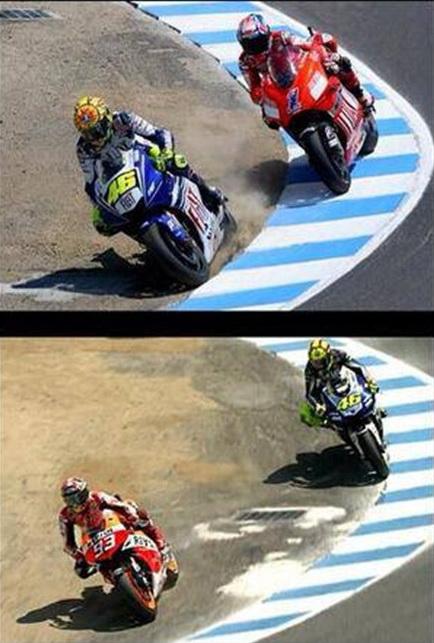 """Marquez """"membalas"""" overtake Rossi pada Stoner. Mengulangi cerita yang sama..."""