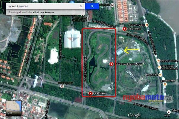 - Sirkuit Kenjeran - Saya capture hari ini via Google Maps Ada beberapa tambahan bangunan lain di sekitarnya :(