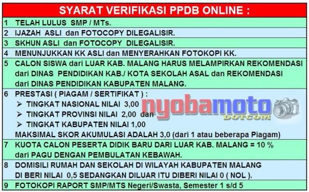 Pendaftaran PPDB Online SMA Negeri 1 Lawang Kab Malang_Syarat-syarat