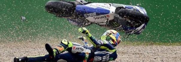 Valentino Rossi saat Crash dengan ban Michelin di Aragon kemarin