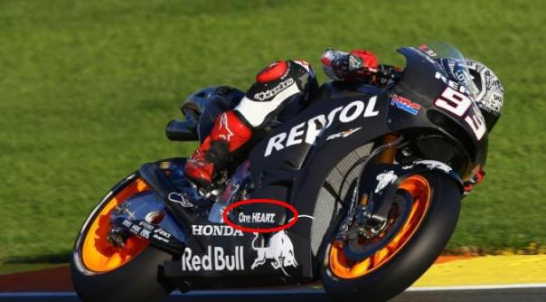 One Heart : tampak pada fairing bawah diatas tulisan Honda dan Banteng RedBull