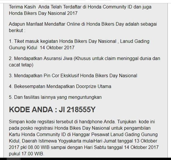 Daftar Honda Bikers Day 2017_step 07